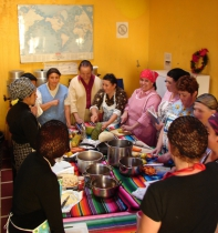 Host mothers learn to prepare meals for international taste