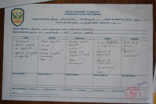 An example of a week´s study plan designed by the teacher with his student
