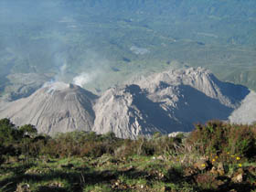 Trip to the Santiaguito volcano. You can see a succession of four crater cones due to movement of the geological plates