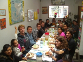 Party with teachers and students at El Quetzal Spanish School